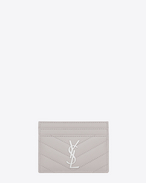 MONOGRAM SAINT LAURENT Credit Card Case in Light Grey Grain de Poudre Textured Matelassé Leather