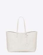 SAINT LAURENT Shopping Saint Laurent E/O D Grand sac SHOPPING en cuir blanc grisé et noir f