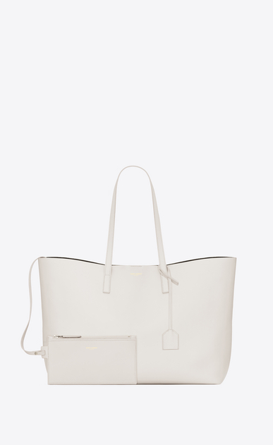 SAINT LAURENT Shopping Saint Laurent E/W D shopping saint laurent tote bag in dove white leather b_V4
