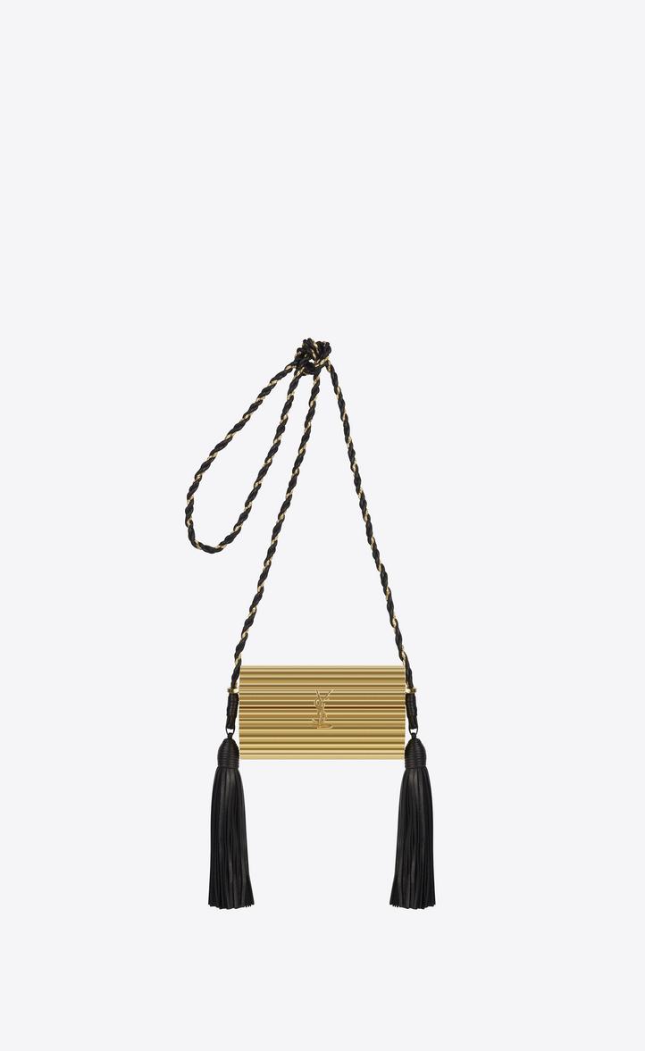 aec557a3d8 Saint Laurent Opium Box Bag In Gold Plexiglas And Black Leather ...