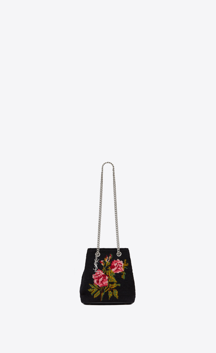 Classic Baby EMMANUELLE Chain Bucket Bag in Multicolor Grunge Rose Wool  Needlepoint 706e32581894e