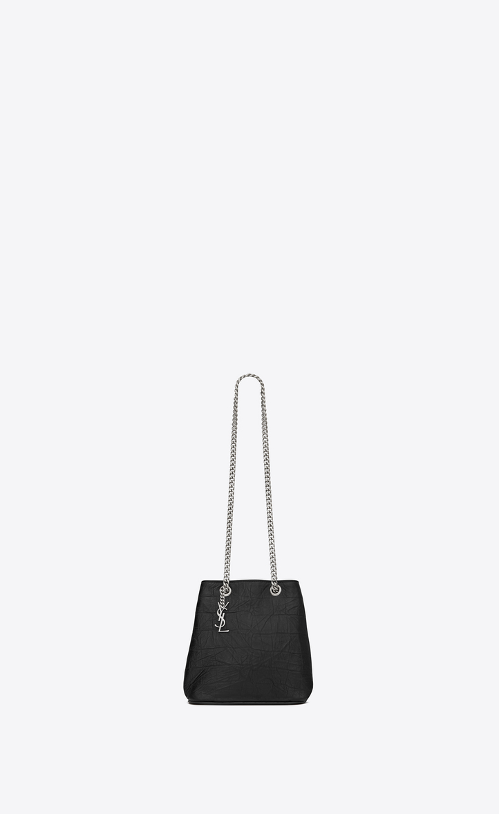 Classic Baby Emmanuelle Chain Bucket Bag In Black Crocodile Embossed Leather Front View