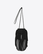 SAINT LAURENT Anita bag D Toy ANITA Fringed Flat Bag in Black Suede f