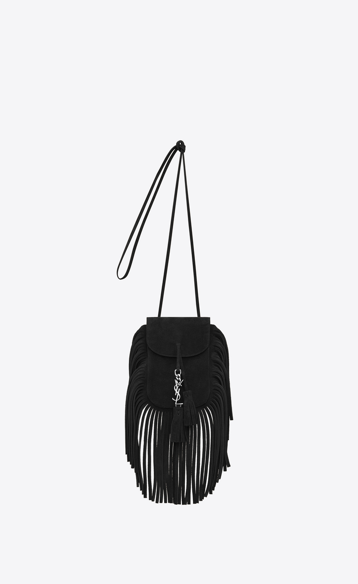 Toy Anita Fringed Flat Bag In Black Suede Front View