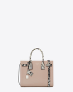 Classic Baby SAC DE JOUR Bag in Powder Pink Leather and White and Black Python Embossed Leather