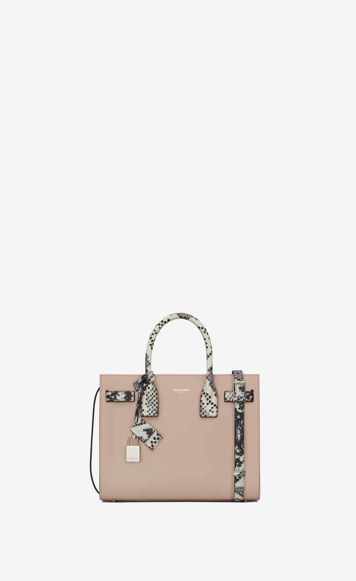 Classic Baby SAC DE JOUR Bag in Powder Pink Leather and White and Black  Python Embossed 941d869abc647