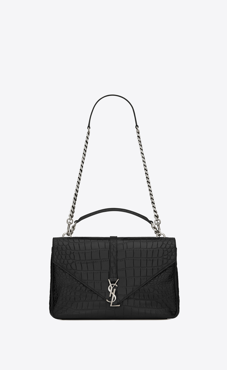 f62a61845289 Saint Laurent Classic Large Collège Bag In Black Crocodile ...