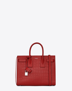 SAINT LAURENT Sac De Jour Small D Classic Small SAC DE JOUR BAG in Red Crocodile Embossed Leather f