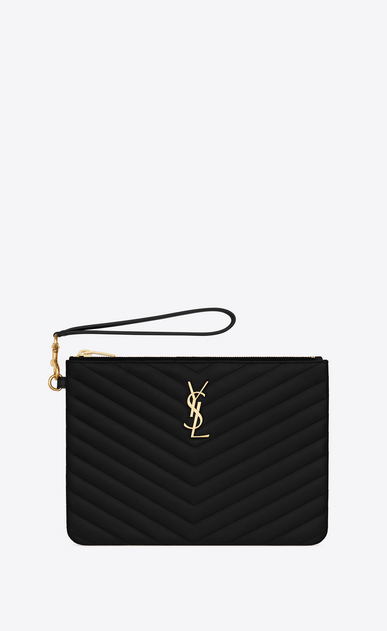 SAINT LAURENT Monogram Matelassé Woman Monogram A5 pouch in matelassé leather a_V4