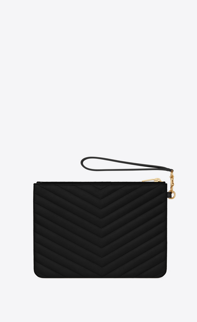 SAINT LAURENT Monogram Matelassé Woman pouch in black matelassé leather b_V4