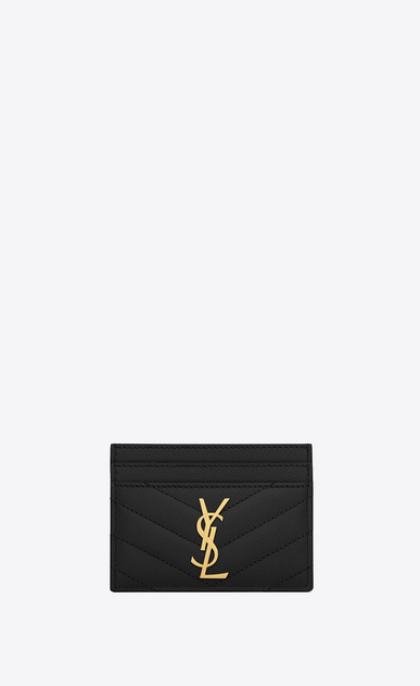 SAINT LAURENT Monogram Matelassé Woman credit card case in black textured matelassé leather a_V4