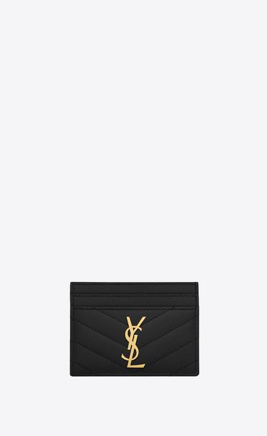 SAINT LAURENT Monogram Matelassé D monogram credit card case in black grain de poudre textured matelassé leather v4