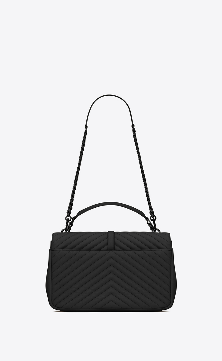 c636940e8ded Saint Laurent Classic Large Collège Bag In Black Matelassé Leather ...
