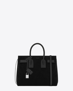 SAINT LAURENT Sac De Jour Small D Classic Small Sac De Jour bag in Black Suede and leather f