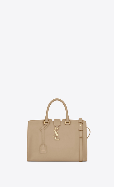SAINT LAURENT Monogram Cabas D small monogram cabas bag in beige leather a_V4