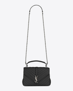 Classic Medium MONOGRAM SAINT LAURENT COLLÈGE Bag in Black Matelassé Leather