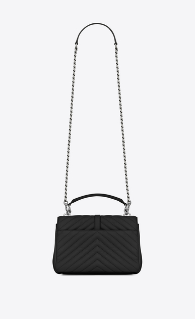 SAINT LAURENT Monogram College D classic medium collège bag in black matelassé leather b_V4