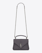 SAINT LAURENT Monogram College D sac medium collège monogramme en cuir matelassé gris anthracite f