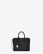 Classic Nano Sac De Jour bag in Black CROCODILE EMBOSSED LEATHER