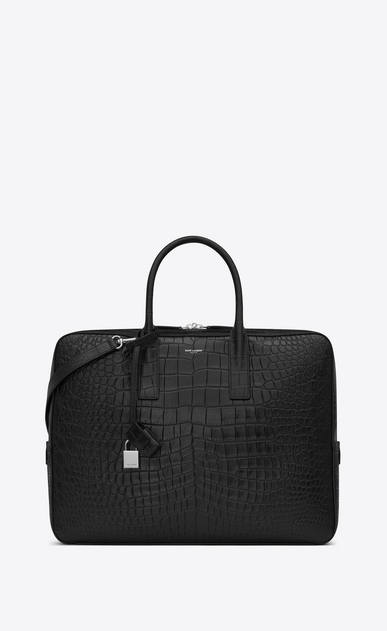 museum briefcase in black crocodile embossed leather