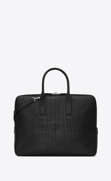 SAINT LAURENT Business U classic small museum briefcase in black crocodile embossed leather b_V4