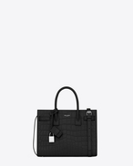 classic baby sac de jour bag in black crocodile embossed leather