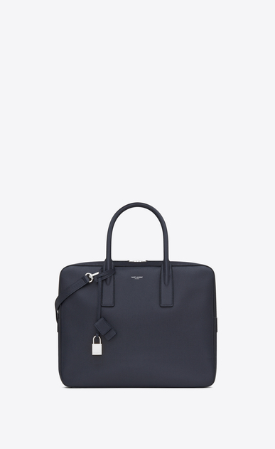 SAINT LAURENT Business U classic small museum briefcase in navy blue grain de poudre textured leather a_V4