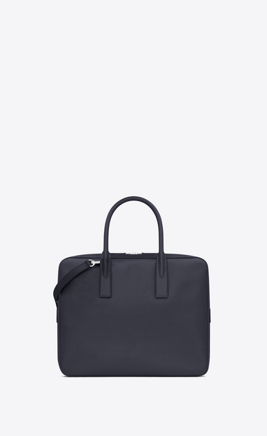 SAINT LAURENT Business U classic small museum briefcase in navy blue grain de poudre textured leather b_V4