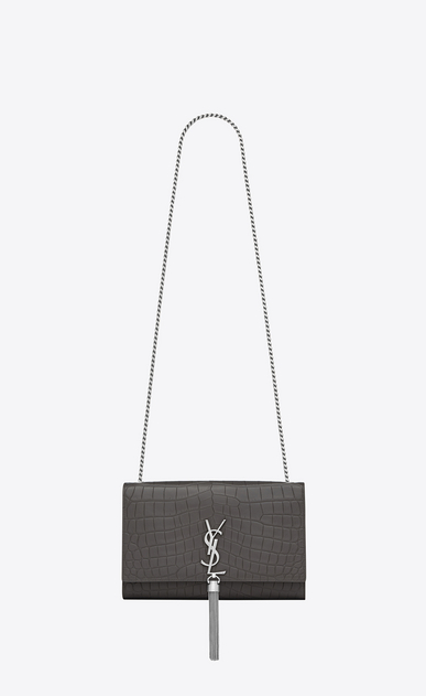 SAINT LAURENT MONOGRAM KATE WITH TASSEL D medium kate tassel chain bag in dark anthracite crocodile embossed leather a_V4