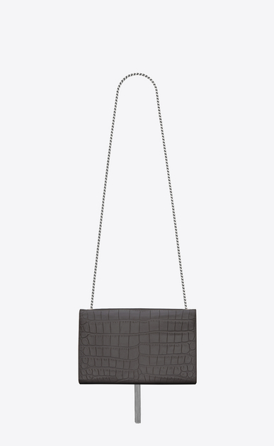 SAINT LAURENT MONOGRAM KATE WITH TASSEL D satchel medium à pompon kate en cuir embossé façon crocodile anthracite foncé b_V4