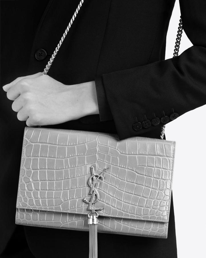 1044af5bdc8d Zoom  medium kate tassel chain bag in dark anthracite crocodile embossed  leather