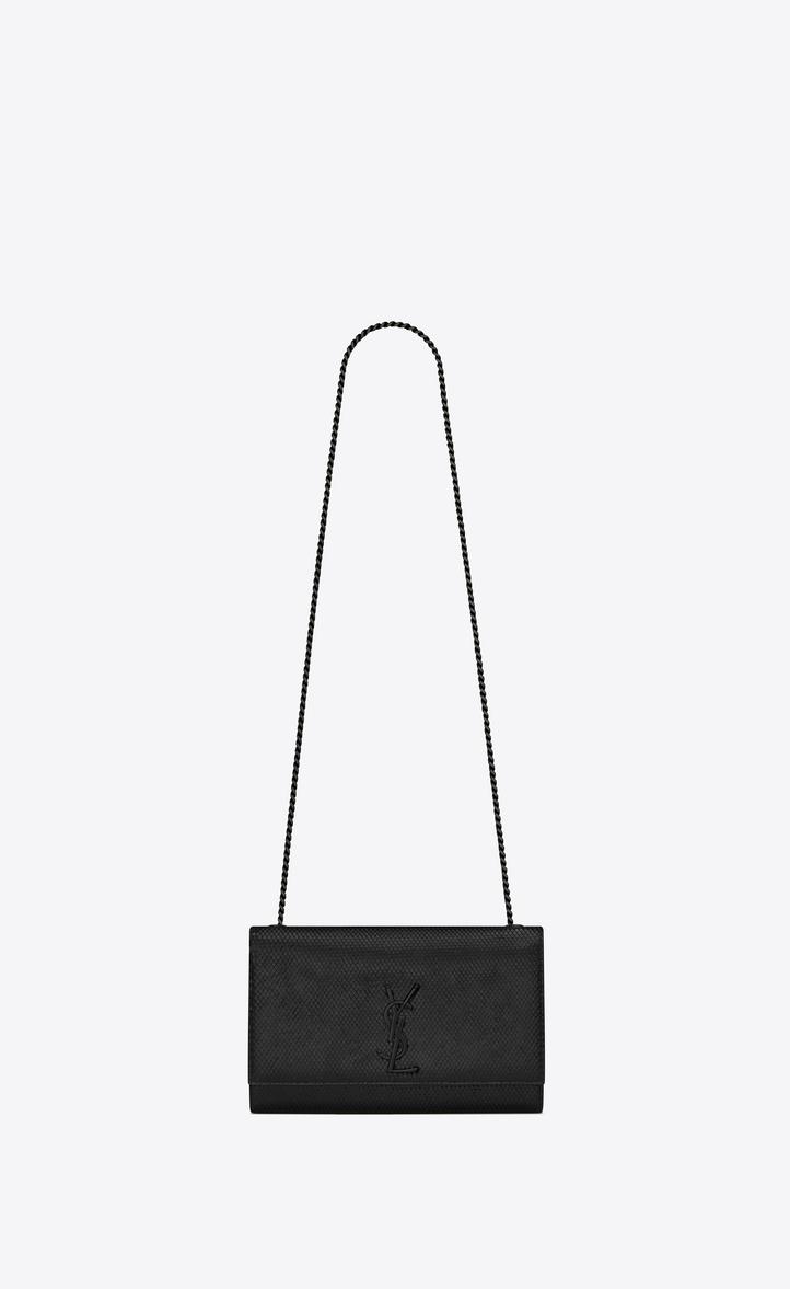 Classic Medium KATE MONOGRAM SAINT LAURENT Satchel in Black Python Embossed  Leather 0a91dacbab436