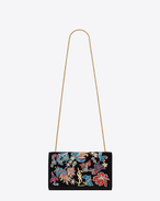 SAINT LAURENT MONOGRAM KATE D Classic Medium KATE MONOGRAM SAINT LAURENT Satchel nera in velours e paillette e perline multicolori a motivo Floral. f