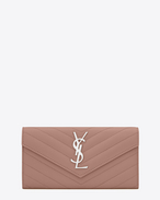 Large MONOGRAM SAINT LAURENT Flap Wallet in Light Dusty Rose de Poudre Textured Matelassé Leather