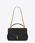 classic large collège bag in black matelassé leather and vintage gold-toned hardware