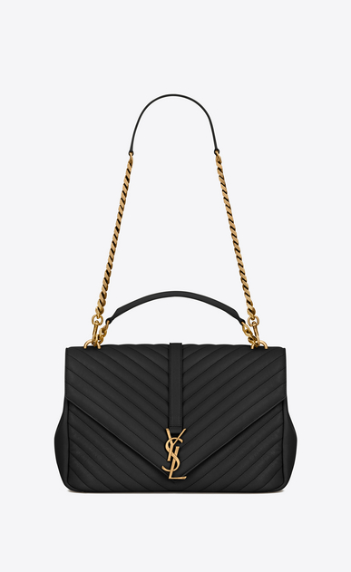 SAINT LAURENT Monogram College D classic large collège bag in black matelassé leather and vintage gold-toned hardware a_V4