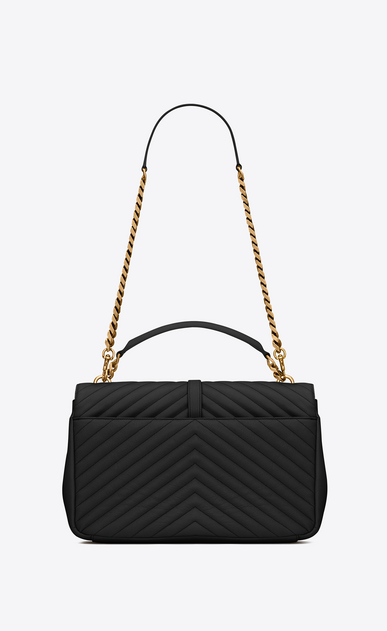 SAINT LAURENT Monogram College D classic large collège bag in black matelassé leather and vintage gold-toned hardware b_V4