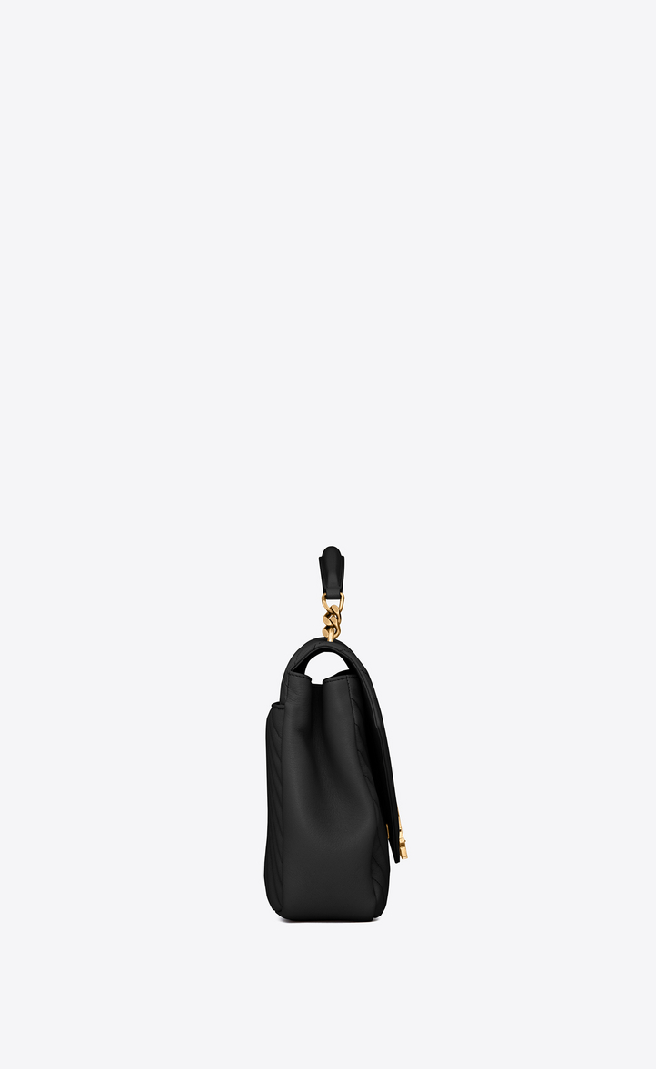 Zoom  large collège bag in black matelassé leather and vintage gold-toned  hardware 18b75b6cc7f57
