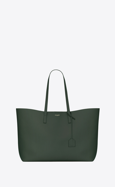 SAINT LAURENT Shopping Saint Laurent E/O Femme grand sac shopping en cuir vert foncé a_V4