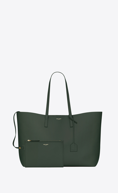 SAINT LAURENT Shopping Saint Laurent E/O Femme grand sac shopping en cuir vert foncé b_V4