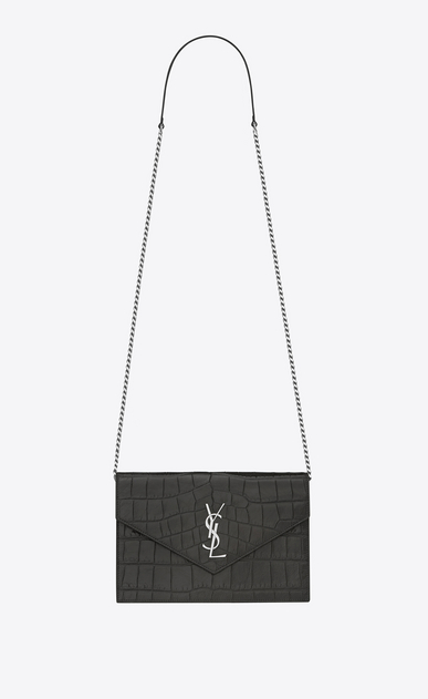 SAINT LAURENT Envelope Chain Wallet D monogram envelope chain wallet in dark anthracite crocodile embossed leather a_V4