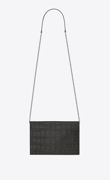 SAINT LAURENT Envelope Chain Wallet D monogram envelope chain wallet in dark anthracite crocodile embossed leather b_V4