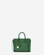SAINT LAURENT Nano Sac de Jour D Classic Nano SAC DE JOUR Bag in Clover Green Crocodile Embossed Leather f