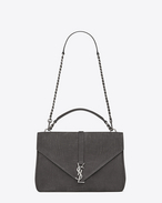 Classic Large MONOGRAM SAINT LAURENT COLLÈGE Bag in Anthracite Crocodile Embossed Nubuck Leather