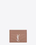 Porte-cartes MONOGRAMME  en cuir matelassé texturé rose clair poudré