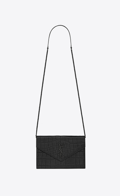SAINT LAURENT Envelope Chain Wallet D monogram envelope chain wallet in black crocodile embossed leather a_V4