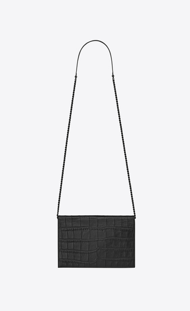 SAINT LAURENT Envelope Chain Wallet D monogram envelope chain wallet in black crocodile embossed leather b_V4