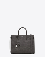 Classic Small SAC DE JOUR Bag in Dark Anthracite Crocodile Embossed Leather
