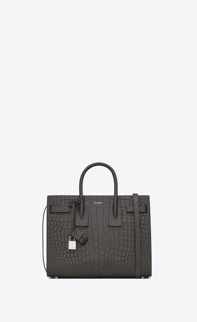 SAINT LAURENT Sac De Jour Small D Classic Small SAC DE JOUR Bag in Dark Anthracite Crocodile Embossed Leather a_V4
