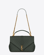 Classic Large MONOGRAM SAINT LAURENT COLLÈGE Bag in Dark Green Matelassé Leather